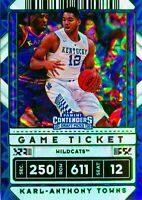 Karl Anthony Towns 2020-21 Contenders Draft Picks Green Explosion Holo Card #36