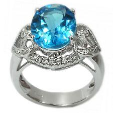 De Buman 6.23ctw Genuine Swiss Blue Topaz Solid 925 Silver Ring, Size 7.25