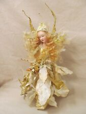 """11"""" Bisque Fairy Figurine Clothed in Pose-able Golden & Ivory Leaves"""