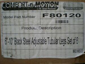 """COMFORT-N-MOTION 6""""-10"""" Black Steel Adjustable Tubular Legs Set Of 6 ( F80120 )"""