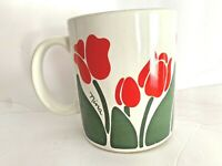 Vintage Nina Red Tulips Floral Design Coffee Cup  Mug  CHD 1983 Some Wear