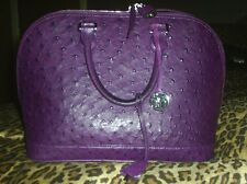 Via La Moda Purple Violet Genuine Ostrich Handbag Alma