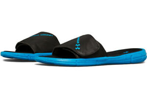 NEW Under Armour UA 1287212 Mens Black/Blue Slippers Beach Sandals Size 10