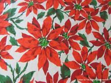 "Christmas Tablecloth Vintage 60s-1970s Poinsettias 60"" x 70"" Vera Neumann Cotton"