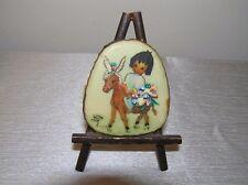 Estate Desert Scrimshaw b Jam To Market Hand Painted Small Plastic Piece w Easel