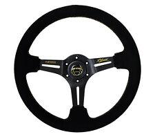 NRG Deep Dish Steering Wheel 350mm Black Suede with Gold Stitching ST-018S-RL