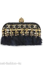 ALEXANDER McQUEEN PUNK EMBELLISHED LEATHER AND FEATHERS SKULL BOX CLUTCH BNWT