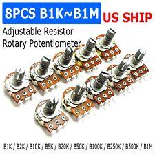 10pcs 1k 1m Ohm Linear Taper Rotary Potentiometer Panel Pot B100k 15mm