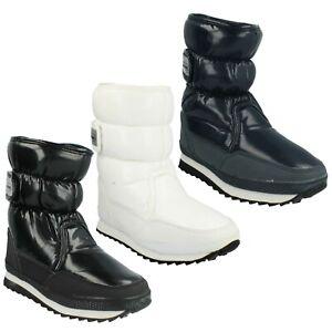 LADIES SNOWFUN  8.886709 HOOK & LOOP WINTER SKI SNOW BOOTS BLACK NAVY