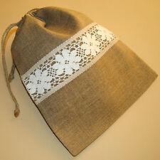 "Handmade Natural Linen Bread Bag. Food storage bags. Reusable linen bag 10""x14"""