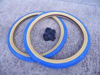 Raleigh Burner Old School BMX Tyres / Comp 3 Tread / Blue 20 x 1.75 (Pair of)