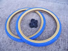 Raleigh Burner Old School BMX Tyres / Comp 3 Tread / Blue 20 x 1.75 (Pair of)