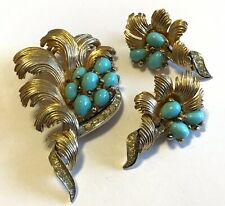 BOUCHER SIGNED & NUMBERED TURQUOISE CABOCHONS & CLEAR RHINESTONE BROOCH SET