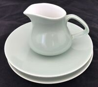 Vintage Poole Pottery Milk / Cream Jug Plate And Saucer Green & White Trio