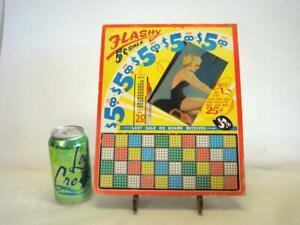 Vintage 12'' x 9 3/4'' Gambling Punch Board UNUSED Pin Up Girl ''Flashy''