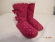 Girls Youth Fall Winter Boots Size 12 CHEROKEE Warm Liner PINK Hearts
