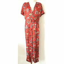 NWT ZARA WOMAN RED MULTICOLOR PRINTED JUMPSUIT WITH BUCKLE FLOWERS