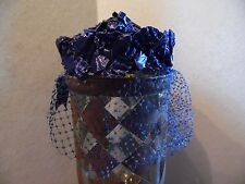 Vintage Royal Blue Raffia Ladies Hat With Netting & Velour Tail