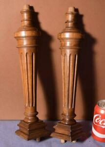 """15"""" Pair of French Antique Solid Walnut Wood Posts/Pillars/Columns/Balusters"""
