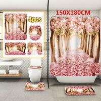 Sakura Waterproof Shower Curtain NonSlip Bathroom Toilet Seat Cover Pad Bath