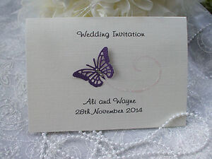 50 x PERSONALISED FOLDED BUTTERFLY WEDDING INVITATIONS - FREE MONEY POEM CARDS
