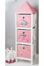 "Pink Unicorn ""Born to Sparkle"" 3 Tier 3 Drawer Tower Chest Storage Toy Organiser"