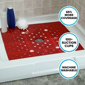 """65% MORE COVERAGE! SlipX Solutions Red Extra Large Shower Mat (27"""")"""