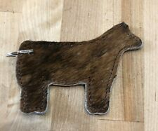 Leather Stock Show Heifer Cow Key Ring Hair on Hide Leather