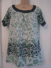 Lovely M&S size 12 loose fitting, perfect summer cotton tunic top, green & grey