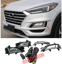 For Hyundai Tucson 2019-20 2021 Bumper Fog Lamp LED DRL Daytime Running Lights