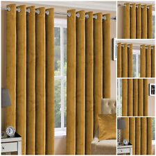 Plush Crushed Velvet Eyelet Ring Top Ochre Curtains Pair Ready Made Fully Lined