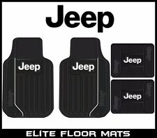 4 Pc Jeep Elite Mopar Front/Rear Rubber Floor Mats With Logo Fast Shipping