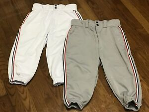 LOT OF 2 - DEMARINI Men's Size SMALL Baseball Knickers Pants Grey & White NEW