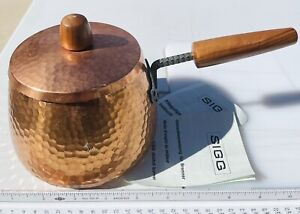 Vintage SIGG Switzerland Forged Hammered Copper Pot with Wood Handle and Lid