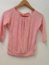 Forever 21 Girls Sz S 3/4 Sleeve Embellished Pink Crew Neck Top Shirt