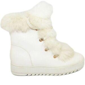 Stivaletti donna bassi bianchi invernali imbottiti di lana linea doposci' con la