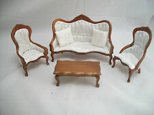Victorian Living Room Parlor Set walnut dollhouse   1/12 scale T0129  wood 5pcs
