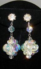 Vintage Coro Vendome Sgned Aurora Borealis Swarovski Crystal Chandelier Earrings