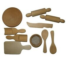 Wooden 10 Piece Mini Dolls House Miniature Cooking/Baking Utensils Kitchen Craft