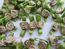 100 Small Ribbon Rose Flower Applique/trim/sewing/green leaf/golden/bow F32-Gold