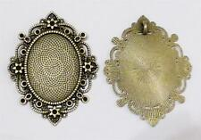 2 x Antique Bronze Cabochon Setting Ornate Style - LF & NF- Flower Star - TS315