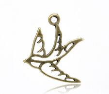 6 Pcs Antique Bronze Swallow Charms Pendants 27x23mm LC1917
