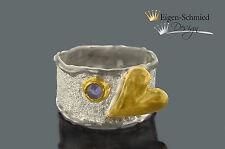 """Goldschmiede Silberring, 925er Silber+ Teilvergoldung, """"a heart of silver"""" Herz"""
