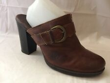 Boc Born Womens 11 M Brown Leather Slip On Mules Chunky Block Heels Shoes Buckle