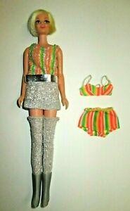 Vintage 1967 Barbie TWIGGY #1726 TWIGGY TURNOUTS Doll Metallic Outfit Underwear