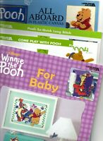 Lot of 4 Pooh Plastic Canvas Leisure Arts Patterns Baby Games Long Stitch Decor