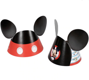8 ct Mickey Mouse on the Go  Hats Birthday party Supplies Paper Ears NEW