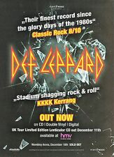 DEF LEPPARD 2016 album UK magazine ADVERT / Poster 11x8 inches