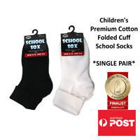 Children's Premium Cotton Folded Cuff School Socks Foldover 4 PAIRS FOR $9.99