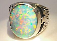White Fire bird Opal men ring 12 Sterling Silver 925 Thunderbirds 925 German Y